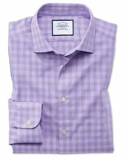 Chemise business casual lilas en coton égyptien flammé extra slim fit à carreaux