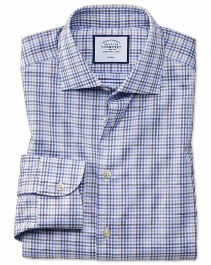 Classic fit business casual non-iron blue and grey check shirt