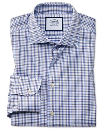 Slim fit business casual non-iron blue and grey check shirt