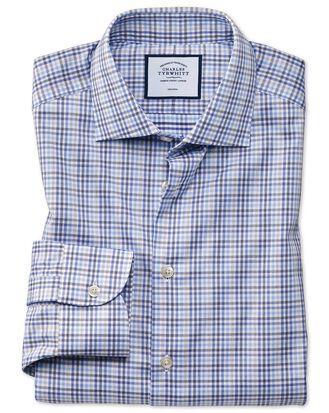 Chemise business casual bleue et grise à carreaux slim fit sans repassage