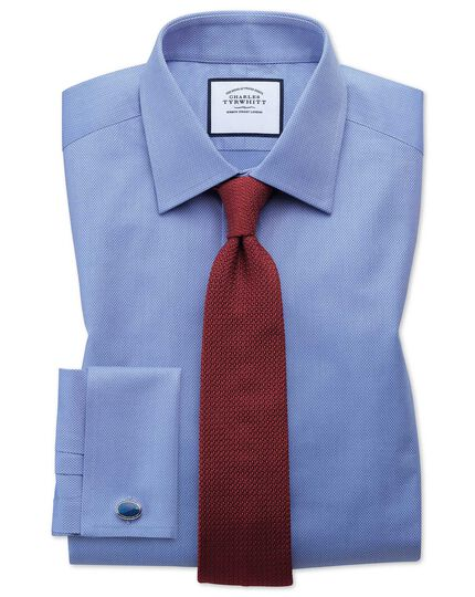 Extra slim fit Egyptian cotton trellis weave mid blue shirt