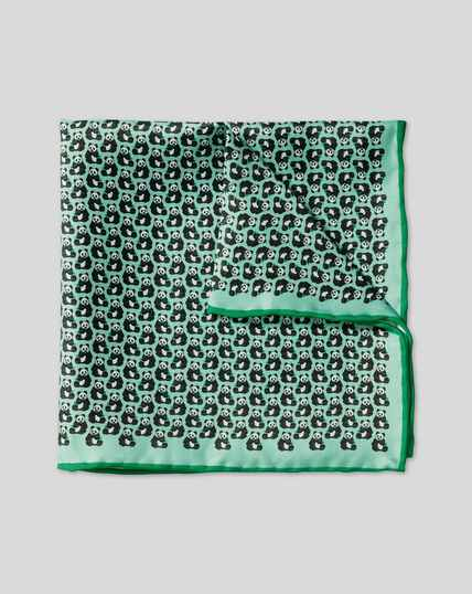 Panda Print Pocket Square - Light Green