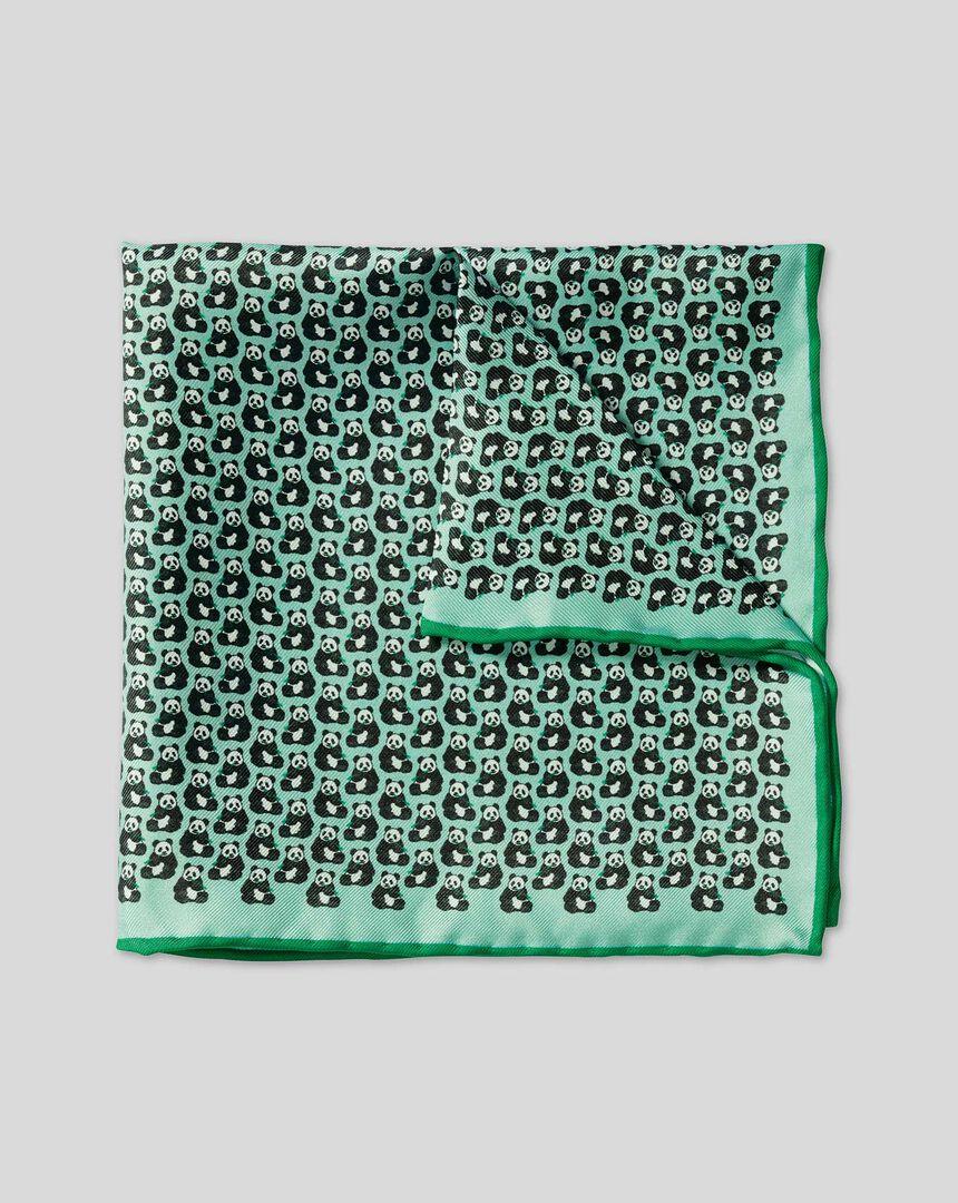 Panda Print Pocket Square - Light Green