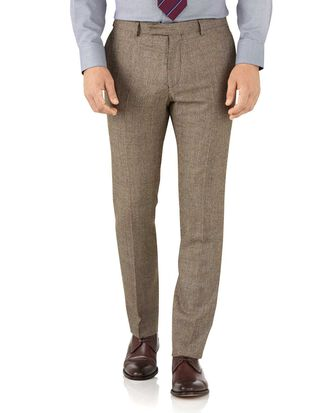 Pantalon de costume de luxe brun clair slim fit à carreaux en sergé britannique