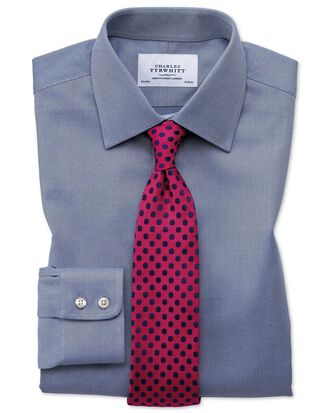 Extra Slim Fit Kavallerie-Twill Hemd aus ägyptischer Baumwolle in Marineblau