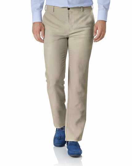 Stone extra slim fit easy care linen trouser