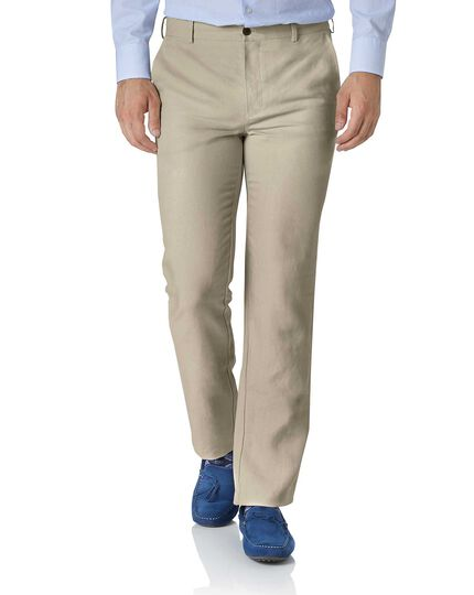 Stone extra slim fit easy care linen trousers