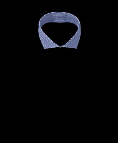 Bügelfreies Slim Fit Hemd mit Haifischkragen in Königsblau mit Hahnentritt