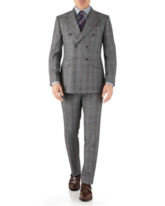 Silver Prince of Wales slim fit flannel double breasted business suit