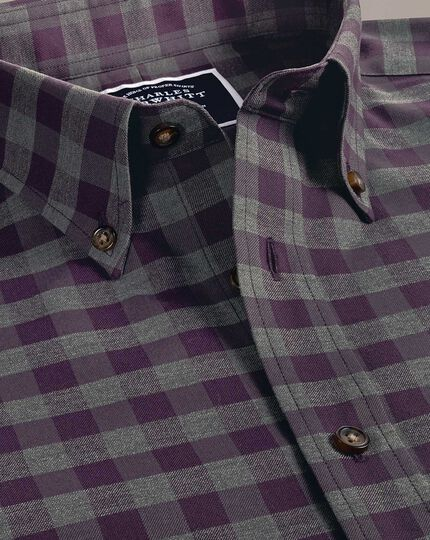 Classic fit non-iron purple gingham twill shirt