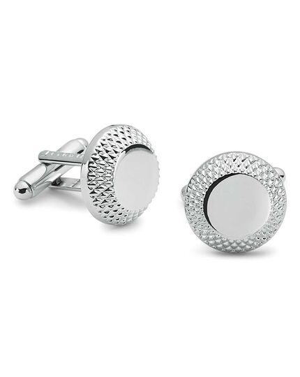 Diamond cut edged metal cufflinks