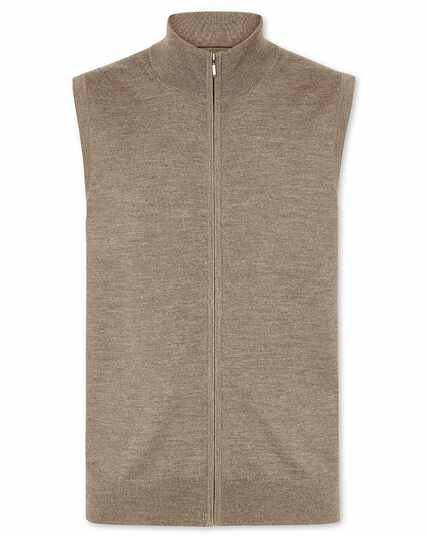 Mocha merino zip through vest
