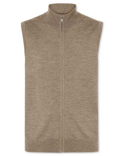 Mocha merino zip through vest