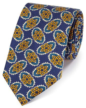 Navy and gold silk floral print English luxury tie