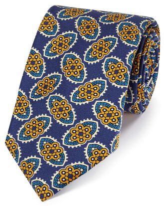 Cravate de luxe bleu marine et or en soie anglaise à imprimé floral