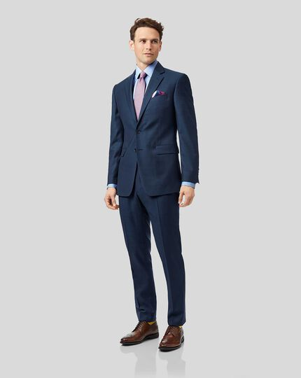Blue slim fit twill business suit