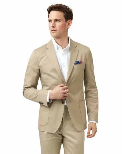 Stone slim fit cotton suit jacket