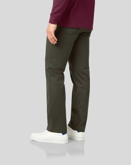 Cotton Stretch Five Pocket Pants - Olive