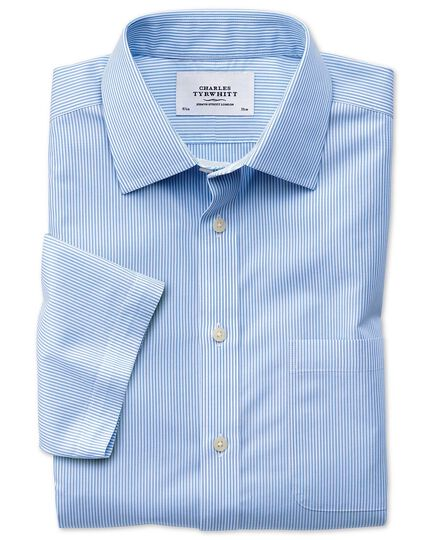 Classic fit non-iron Bengal stripe short sleeve sky blue shirt