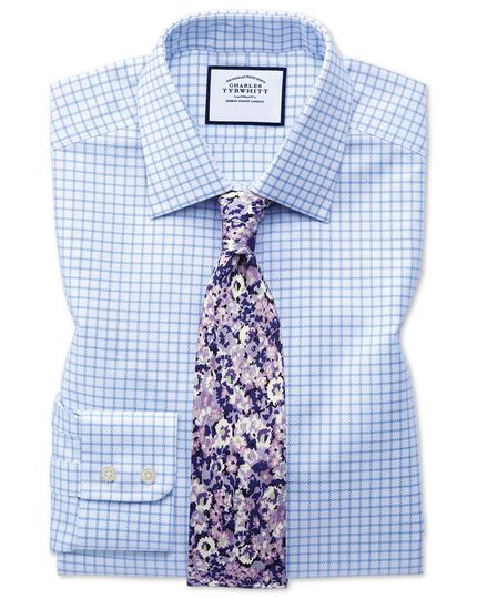 Classic fit Egyptian cotton royal Oxford sky blue check shirt