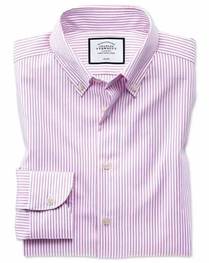 Chemise business casual rose coupe droite à rayures et col boutonné sans repassage