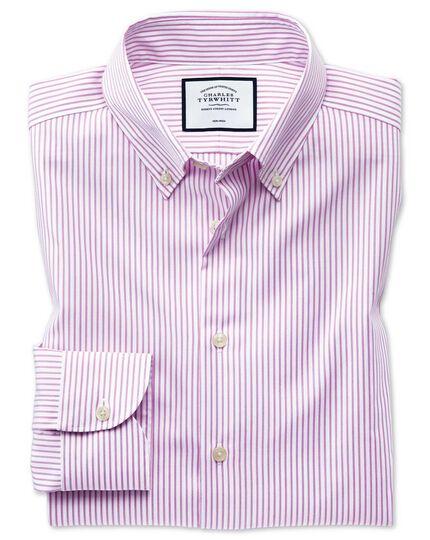 Business-Casual bügelfreies Extra Slim Fit Hemd mit Button-down-Kragen und Streifen in Rosa
