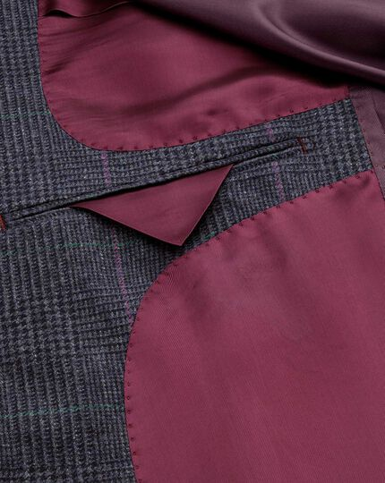 Slim fit blue check cashmere and wool jacket