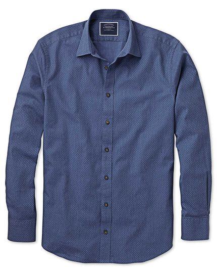 Slim Fit Hemd mit Tupfen-Muster in Blau