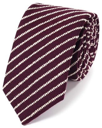 Burgundy and white wool stripe luxury tie