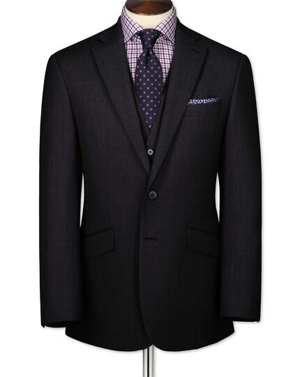 Charcoal classic fit end-on-end business suit jacket