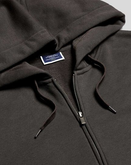 Jersey Hooded Zip Through Sweater - Charcoal