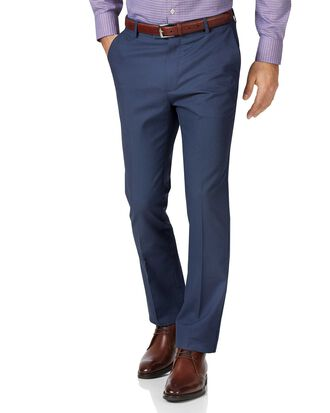 Blue slim fit stretch non-iron trousers