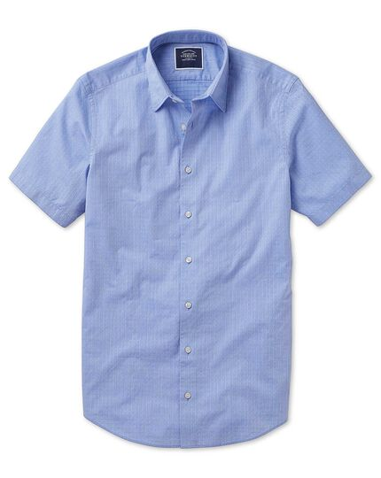 Slim fit short sleeve soft textured blue square shirt