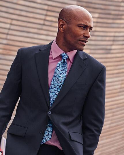 Cravate de luxe en soie anglaise à fleurs - Bleu