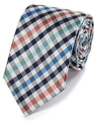 Klassische Krawatte mit Gingham-Karos in Korallenrot und Grün