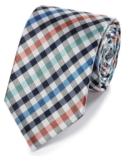 Coral and green gingham check classic tie