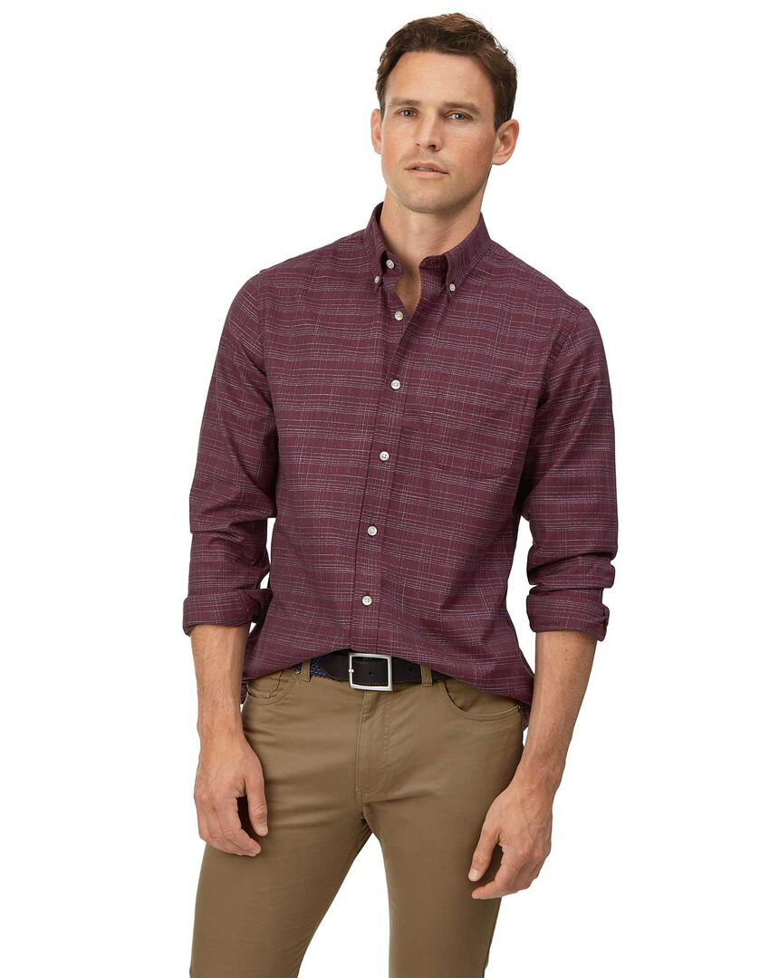 Slim fit soft washed non-iron twill berry grid check shirt
