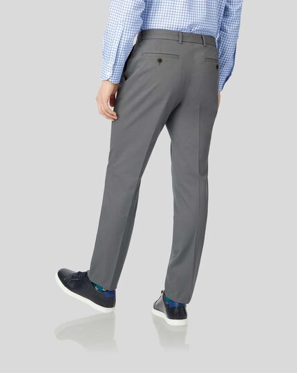 Single Pleat Smart Non-Iron Chinos - Grey