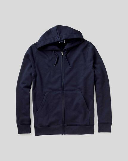 Jersey Zip Through Hoodie - Navy