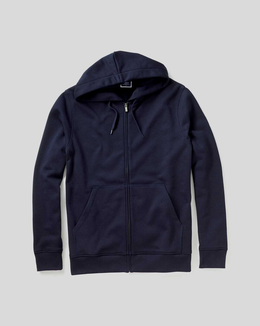 Jersey Hooded Zip Through Sweater - Navy