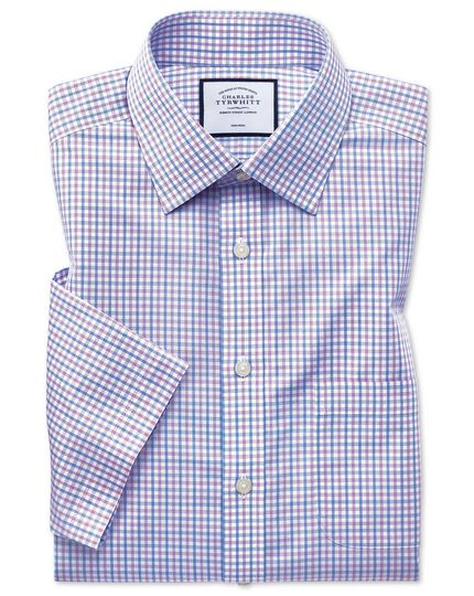 Classic fit non-iron Tyrwhitt Cool poplin short sleeve lilac and sky blue check shirt
