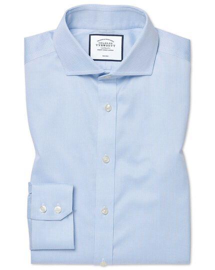 Slim fit non-iron spread collar sky blue puppytooth shirt