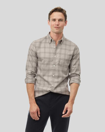 Button-Down Collar Soft Washed Non-Iron Twill Check Shirt - Light Grey