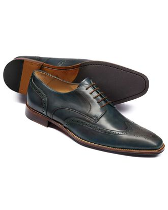 Teal Derby brogue shoes