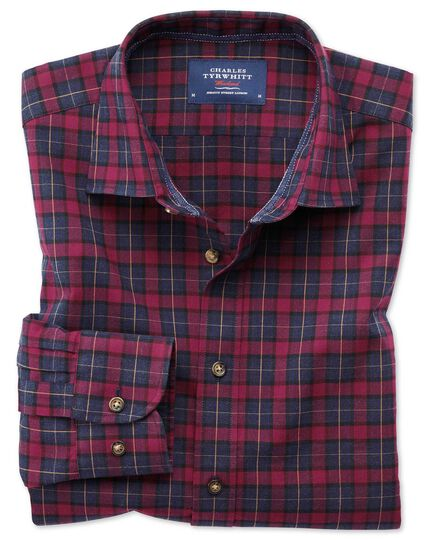 Slim fit heather plaid burgundy and navy blue check shirt