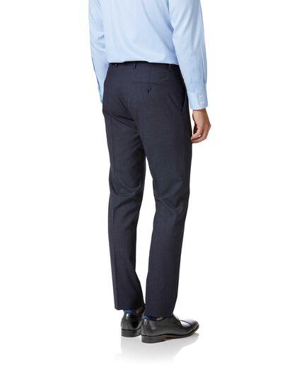 Costume business bleu en laine 3 brins slim fit à rayures