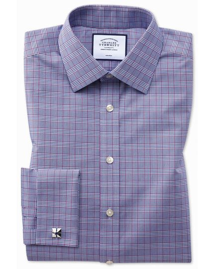 Classic fit non-iron berry and navy Prince of Wales check shirt