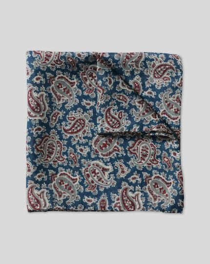 Paisley Wool Silk Pocket Square - Burgundy & Blue