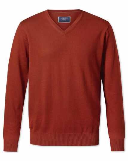 Pullover mit V-Ausschnitt aus Merino in Dunkelorange