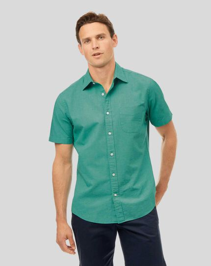 Cotton Linen Short Sleeve Shirt - Green